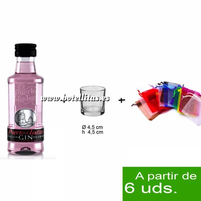 Imagen 1 KITS DE REGALO Pack Ginebra Puerto de Indias Strawberry 5cl más chupito más Bolsa de Organza