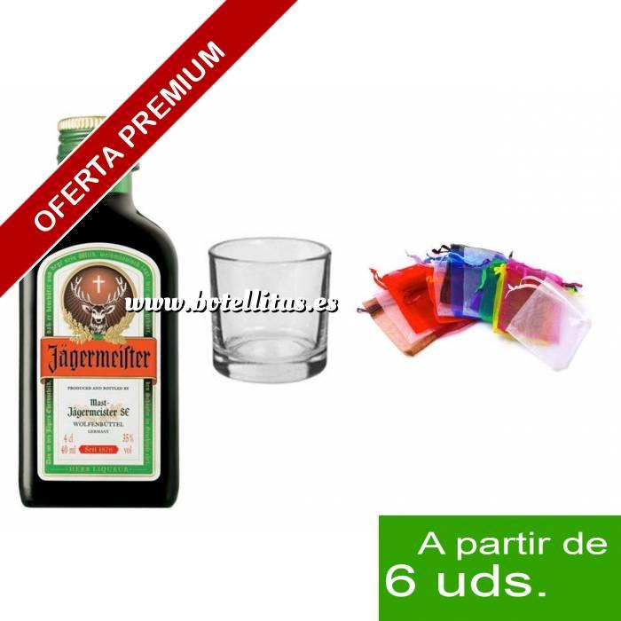 Imagen 1 KITS DE REGALO Pack Jagermeister 4cl más chupito más Bolsa de Organza
