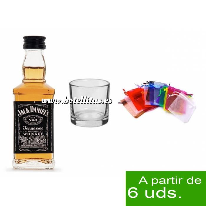 Imagen 1 KITS DE REGALO Pack Whisky Jack Daniels 5cl más chupito más Bolsa de Organza