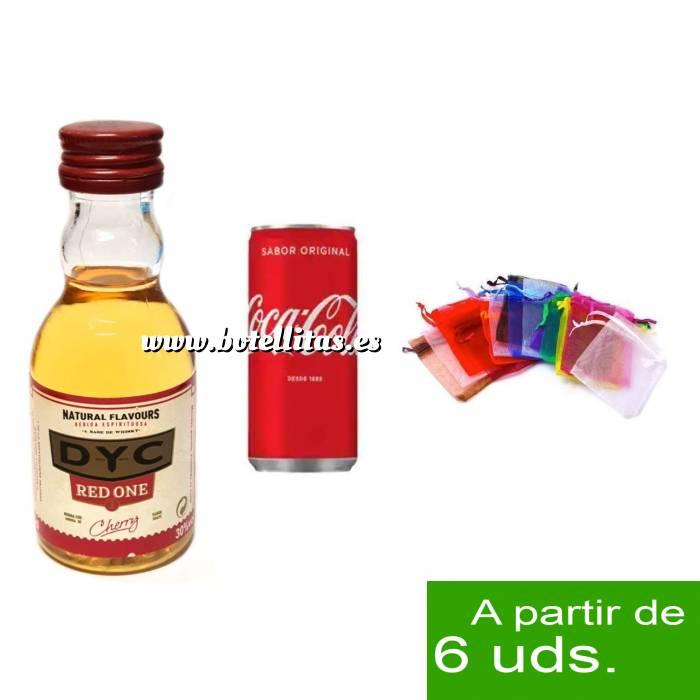 Imagen EN KITS DE REGALO Pack Whisky DYC Cherry 5cl más Coca Cola lata 25cl más Bolsa de Organza