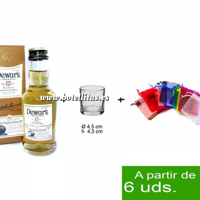 Imagen EN KITS DE REGALO Pack Whisky Dewar´s White Label 12 años ed. Especial 5cl más chupito más Bolsa de Organza