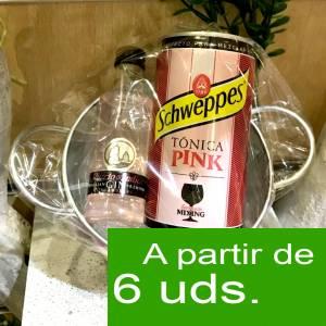 1 KITS DE REGALO - Pack Puerto de Indias 5cl con latita Schweppes Pink 25cl en cubo metal