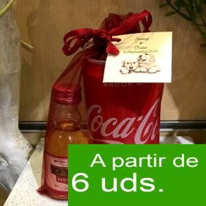 1 KITS DE REGALO - Pack Whisky DYC Cherry 5cl más Coca Cola lata 25cl más Bolsa de Organza