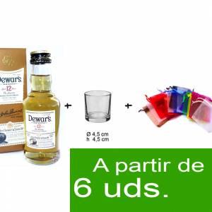 1 KITS DE REGALO - Pack Whisky Dewar´s White Label 12 años ed. Especial 5cl más chupito más Bolsa de Organza
