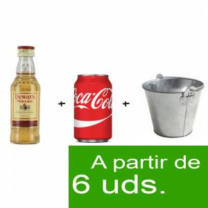 1 KITS DE REGALO - Pack Whisky Dewar´s White Label 5cl más Coca Cola lata 25cl más Cubo de metal