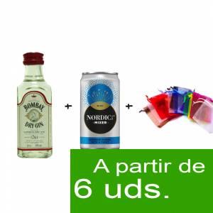 - KITS DE REGALO - Pack Bombay Dry Gin 5cl   más  Lata Nordic Blue  más  Bolsa de Organza