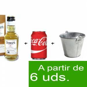 - KITS DE REGALO - Pack Whisky Dewar´s White Label 12 años ed. Especial 5cl más  Coca Cola lata 25cl  más  Cubo de metal