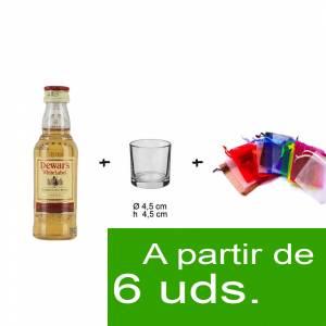 - KITS DE REGALO - Pack Whisky Dewar´s White Label 5cl más chupito más Bolsa de Organza